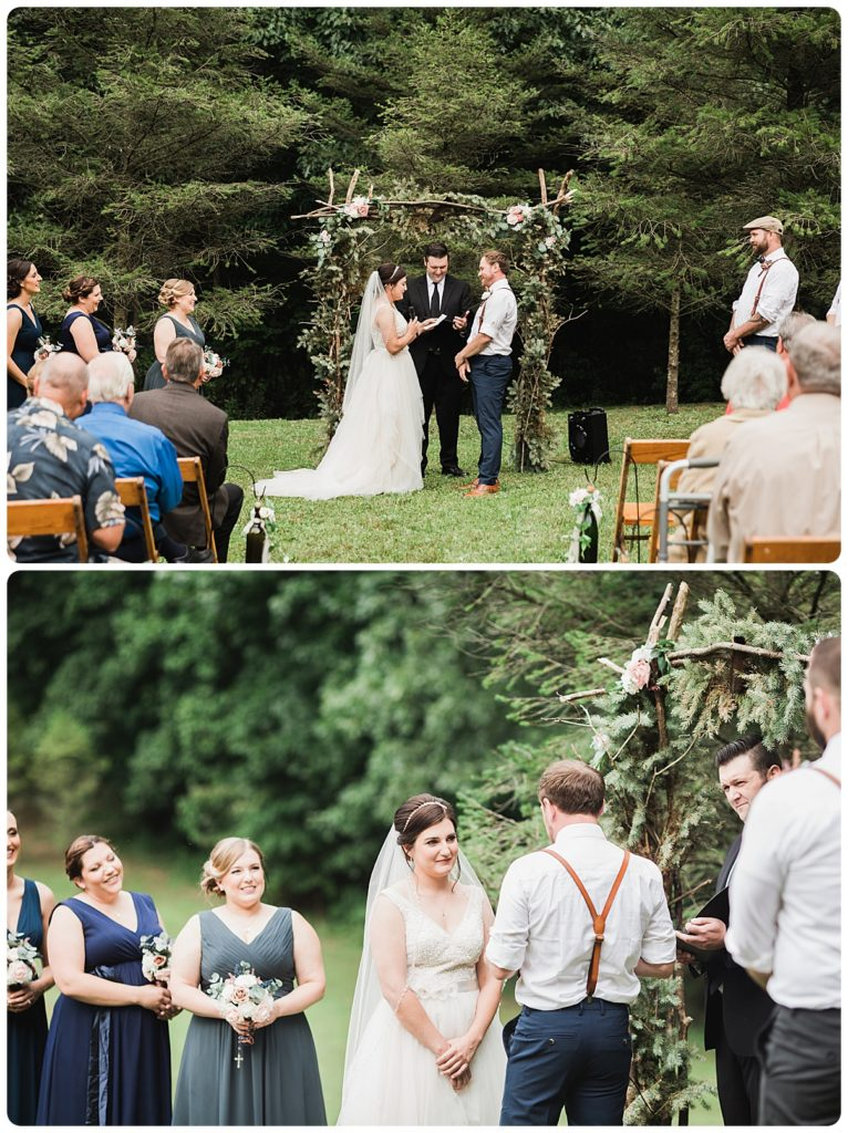 outdoor wedding ceremony on grandparent's property