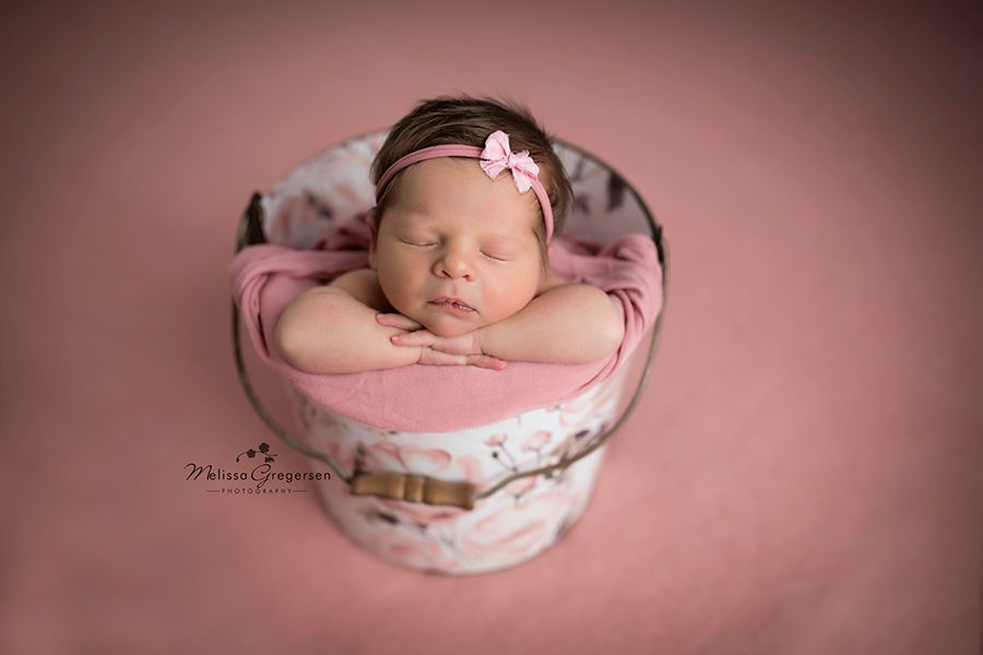Newborn baby in a pink floral bucket at Gregersen Photography Studio