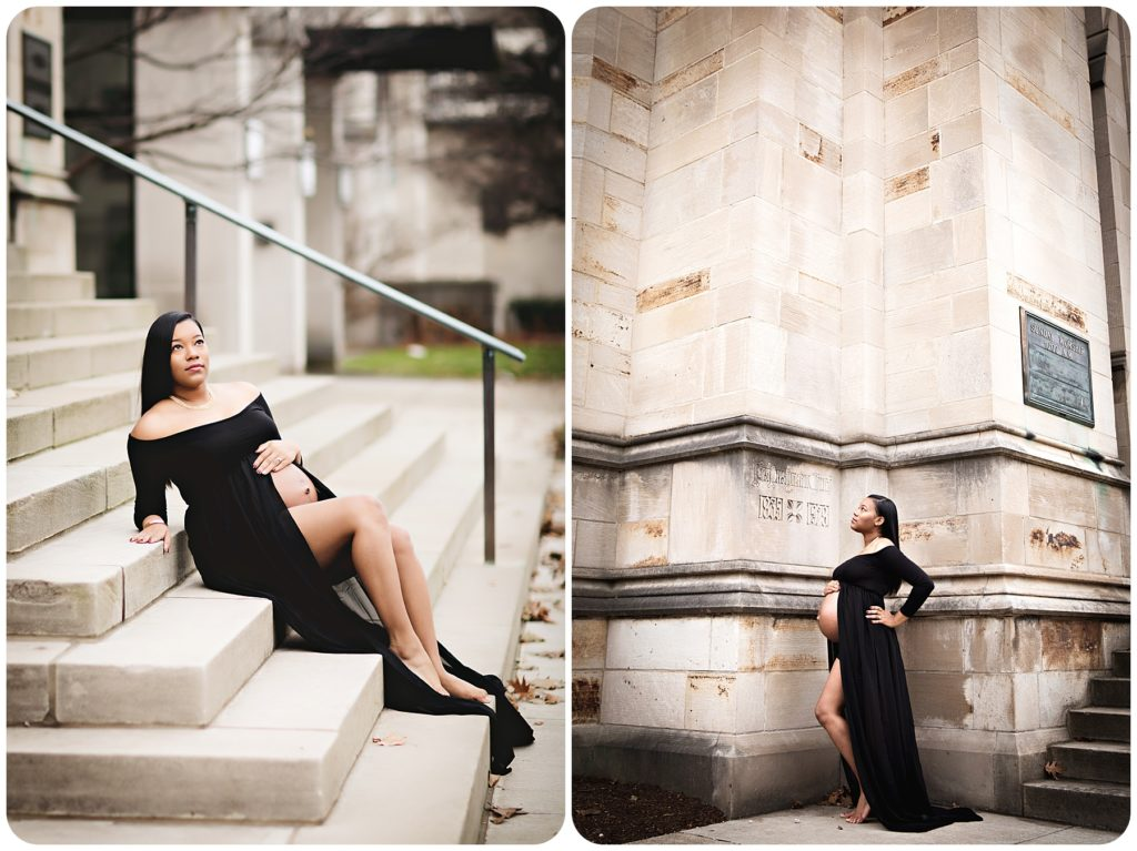 Pregnant lady poses in Kalamazoo Michigan for photography session