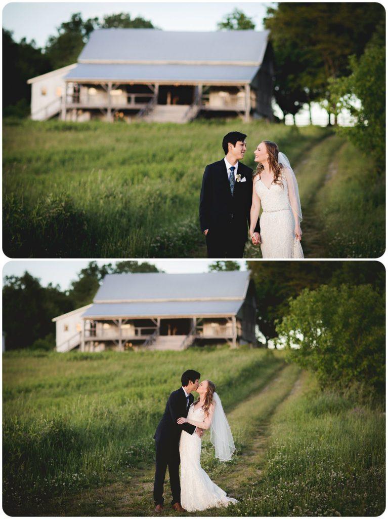 Bride and Groom in front of Hidden Vineyard Wedding Barn