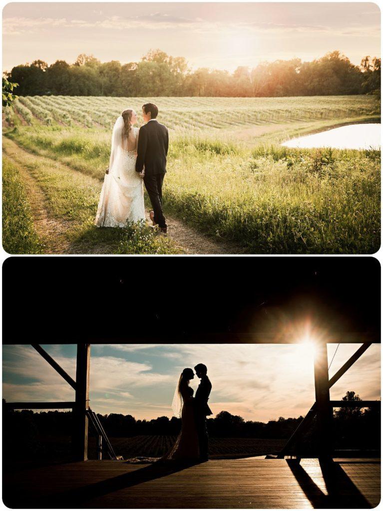 Sunset at Hidden Vineyard Wedding Barn