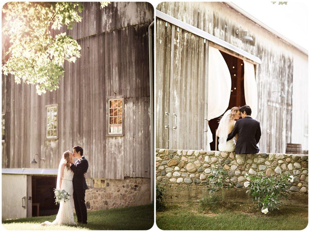 Bride and Groom at Hidden Vineyard Wedding Barn