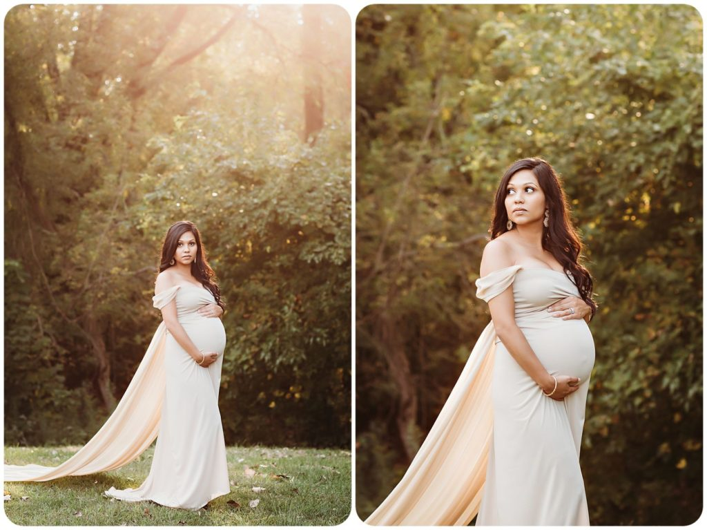 fall maternity photography wearing ivory dress