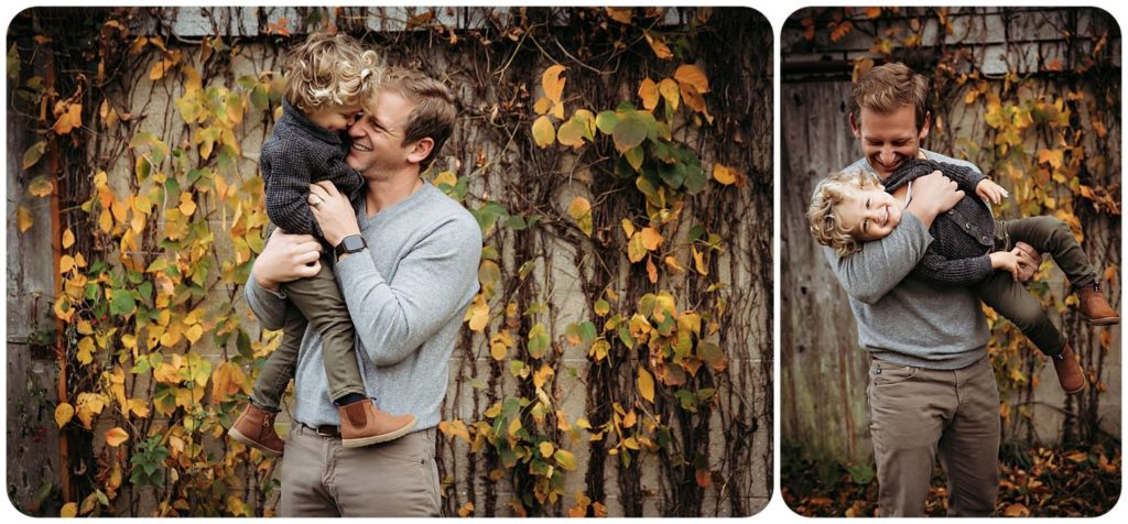 dad and son playing during Fall family photography session in Kalamazoo Michigan