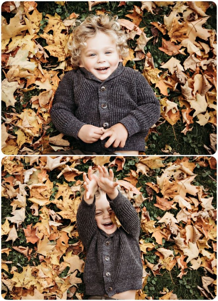 little boy playing with the leaves during Fall family photography session in Kalamazoo Michigan
