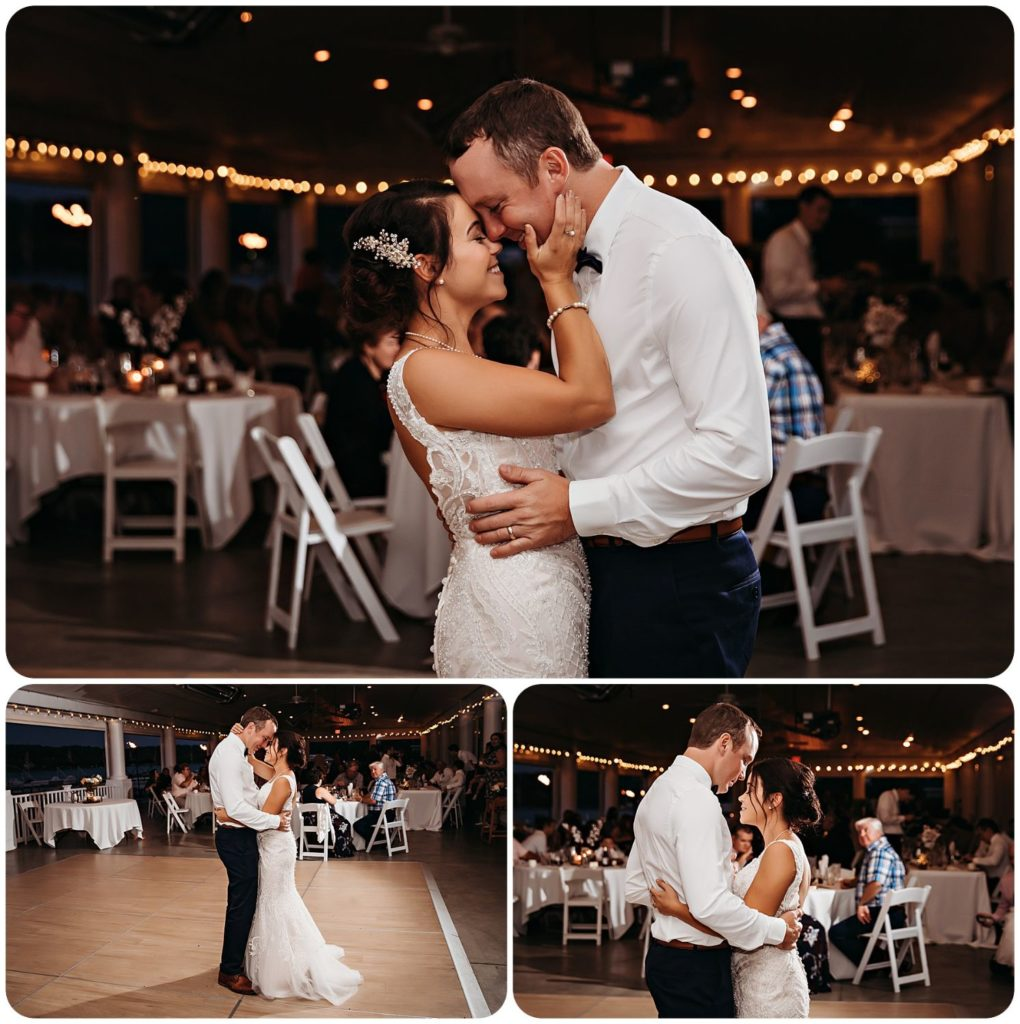 First dance for bride and groom and Bay Pointe Inn