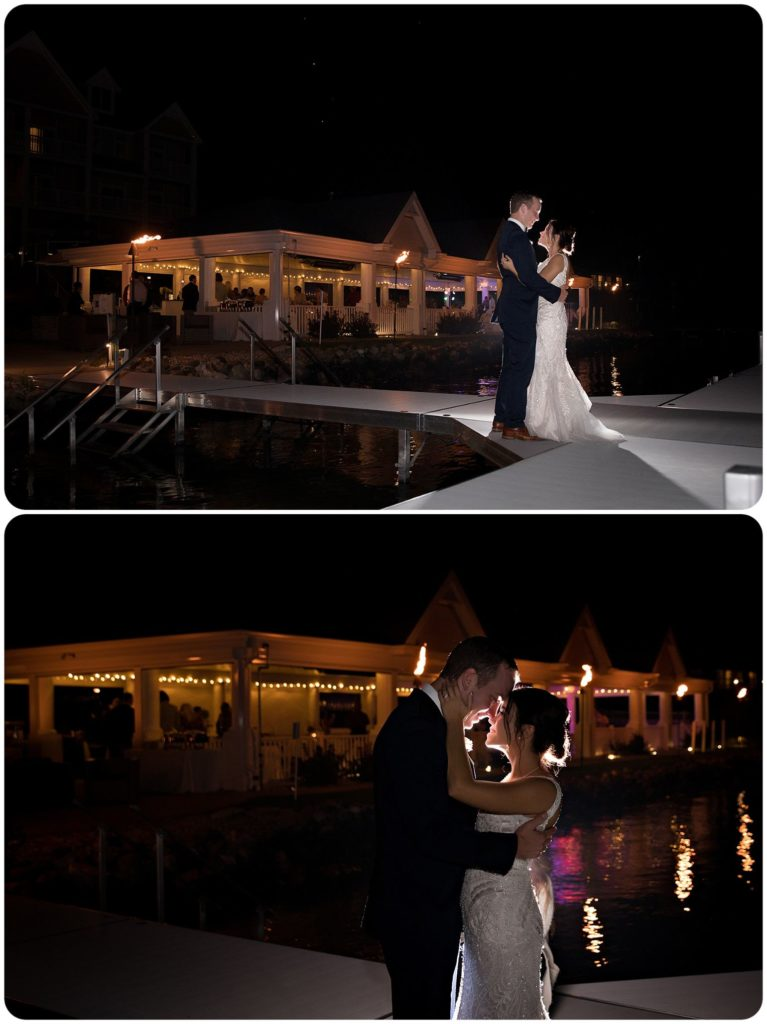 Bay Pointe Inn on Gun Lake Wedding at night