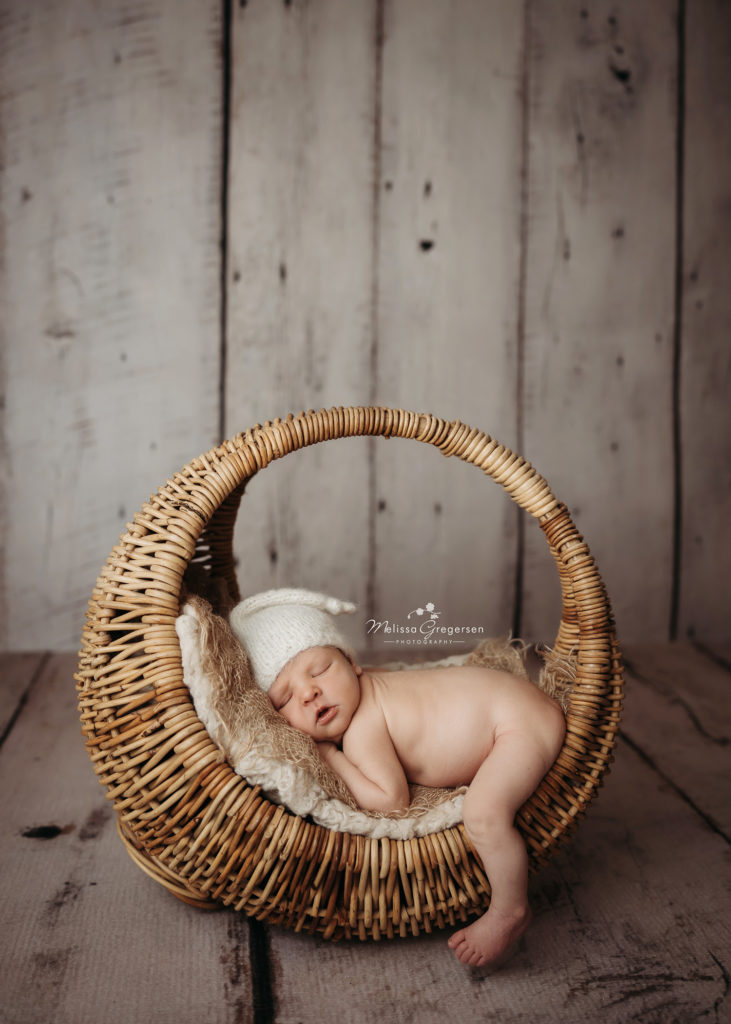 Newborn baby lying in a boho basket at Gregersen Photography Studio in Kalamazoo, MI
