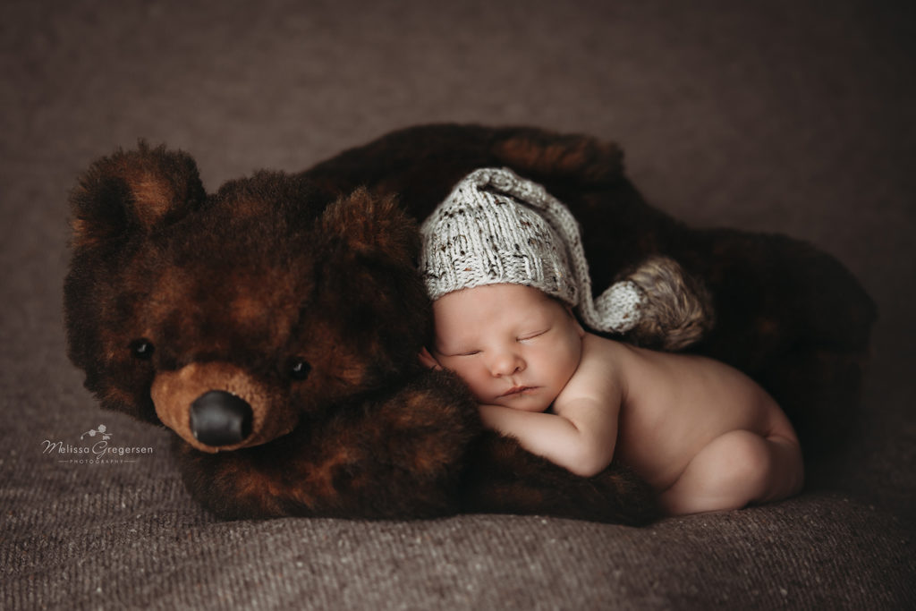 Kalamazoo newborn photography with a teddy bear