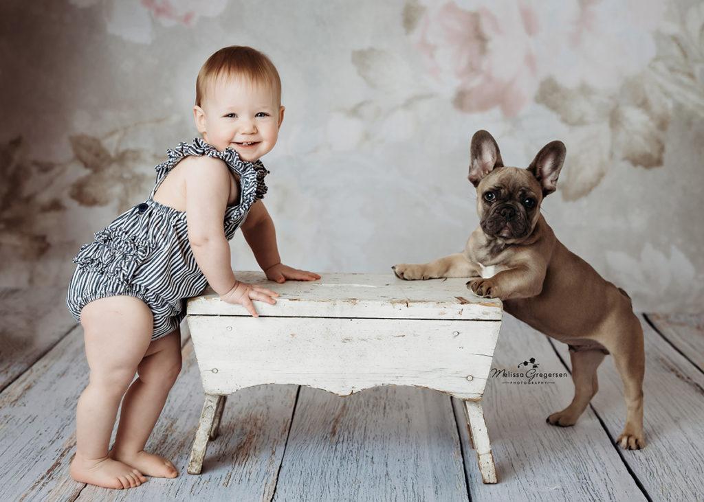 baby and puppy photography Kalamazoo Michigan