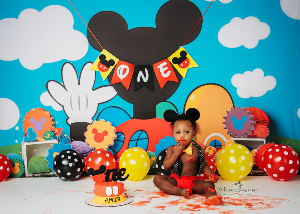 Cake smash photography for one year old Mickey Mouse theme